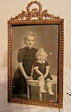 BEAUTIFUL FRENCH ANTIQUE BRONZE PICTURE FRAME WITH LOVELY PICTURE