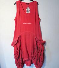 KEKOO %%% lässiges Ballon Träger Kleid Lagenlook Baumwolle rot 50-52 (3)