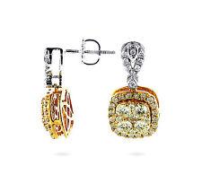Pendientes Diamantes 14 k Oro blanco 1,65 ct. amarillo Brillantes AAA, Wesselton