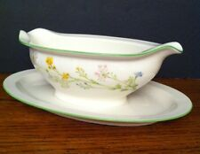 """Noritake REVERIE Green Spring Florals GRAVY BOAT & Attached Underplate 9"""" 12oz"""