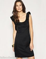 ASOS Oasis Pleated Strap Work Office Wear Party Mini Skate Little Black Dress