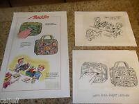 3 PIECE LOT ORIGINAL ART ALADDIN LUNCHBOX DISNEY GOOFY PLUSH PUPPETS & POSTER