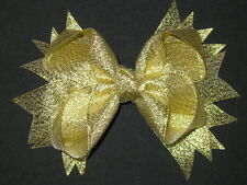 "NEW ""METALLIC GOLD"" Sparkly Hairbow Alligator Clips Girls Ribbon Bows 4.5 Inch"