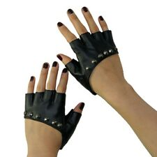 Nw Lady Gaga Sexy Diva Art Black Rivet Fingerless PU Leather Five Fingers Gloves