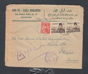 EGYPT 1940s CENSORED COVER ALEXANDRIA TO SWITZERLAND