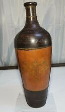 Vintage Rare Clay Painted Copper Strapping Folk Art Large Floor Vase