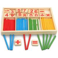 Kinder Vorschule Holz Montessori Lernspiel Mathematik zählen Sticks Spielzeug DE
