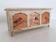 1:12th scale dolls house miniature shabby chic blanket box with bird decals