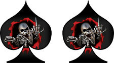 2 x Skull Ace of Spades Sticker Decal Motorbike Helmet Boards Tablet iPad 085