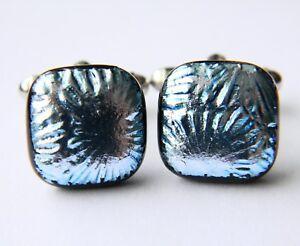 Genuine Dichroic Glass Hand Crafted Cufflinks - Silver Blue Textured