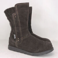Mukluks Womens Brown Polyester Winter Boots Zipper Round Toe Mid Calf Size 10