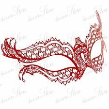 Womens Vampire Diaries Inspired Laser Cut Venetian Metal Masquerade Mask [Red]