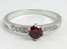 Women's 10 Carat White Gold filled Red Crystal Solitaire Ring Jewellery Size P
