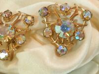 Vintage 50's AB Rhinestone Deco Heart Screw Back Earrings 11007