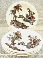 "Johnson Bros Soup Cereal Bowls The Old Mill Set of 4 Ivory 7 1/2"" England Vtg"