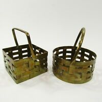 Vintage Mini Small Brass Woven Baskets LOT OF 2 Round Square with Handles India