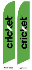 TWO Cricket Wireless (green) Swooper Feather Flag Sign
