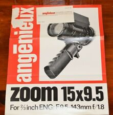 "ANGENIEUX ZOOM lens 15 x 9.5 f9.5 - 143mm f/1.8 for 2/3"" Cameras Ad Sheet Specs"