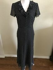 Black Acetate Dress with Silk Lined & White Polka Dots Free Shipping