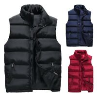 Men Winter Warm Vest Sleeveless Puffer Jacket Outwear Zipper Padded Coat L-4XL
