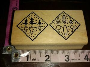Magenta, Christmas reflection Shadow scenes two squares,,wood mount,rubber stamp