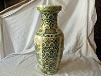 Vintage Chinese Famille Verte Vase decorated with Birds & Flowers 36 cm