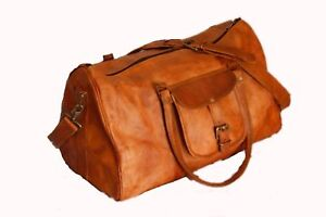 "20"" Men's genuine Leather large vintage duffle travel gym weekend overnight bag"
