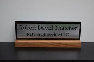 Both side Solid Oak Desk Name Plate, Office Plaque, Custom Engraved Sign