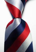 New Classic Striped Red White Blue JACQUARD WOVEN 100% Silk Men's Tie Necktie