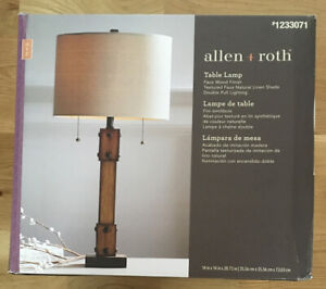 """NEW Allen + Roth #1233071 Table Office Desk Lamp Faux Wood Finish 14 X 14"""" X 28"""""""