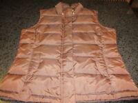 Talbots Brown Goose Down Puffer Zipper/Snap Vest Women's Size Small
