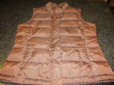 Talbots Brown Goose Down Puffer Zipper/Snap Vest Women's Size Small