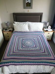 Hand crafted crochet blanket throw afghan