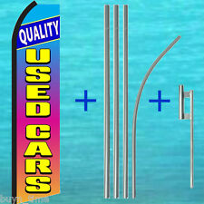 Quality Used Cars Flutter Feather Flag +15' Tall Pole + Mount Kit Swooper Banner