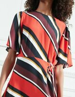 Ladies New Striped Midi Dress with Tie & short flair sleeves Red Sizes 6-8-10-12