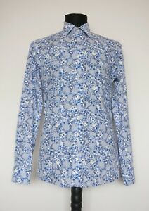 ETON Floral White Blue Slim Shirt Size: S