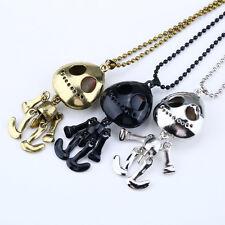 Silver Alien Big Eye ET Skull Mouster Skeleton Head UFO Chain Pendant Necklace O