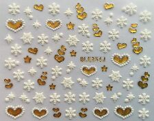Nail Art 3D Decal Stickers Snowflakes & Metallic Gold Hearts Holidays BLE254J