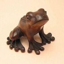 "1940's Japanese Master handmade Boxwood Wood Netsuke ""frog"" Figurine Carving  DF"