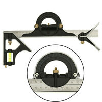 """12"""" Steel Practical Combination Tri-Square Measuring Tools Angle Rule Protractor"""