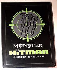 2008 MONSTER HITMAN Energy Drink Shot Shooter Tin METAL DblSid Sign 8.25x11 RARE
