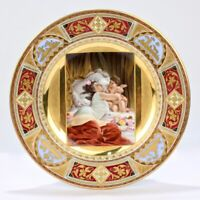 Best Quality Royal Vienna Porcelain Cabinet Plate w Beauty & Cupid Embrace - PC