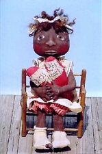 Primitive Pattern Bless Yo'r Heart Black Doll Holding a heart to Make NICE !
