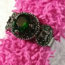 Green Emerald Goth Vampire Ring 10KT Black Gold Filled Jewelry Womens sz 6.5 R45