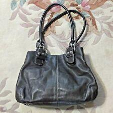 Vintage Tignanello Dark Brown Leather Bucket Bag Purse buckles pockets