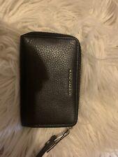 MARC JACOBS Black Leather Zip-Around Wristlet/Wallet