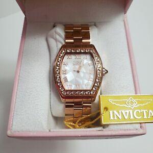 INVICTA Women's Angel Swiss MOP Dial Rose-Gold Morganite Stone Bezel Watch 14529