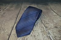 Kenneth Cole Reaction Men's 100% Silk Tie Necktie Blue Striped Classic