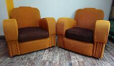 1 x 20S/1930S ART DECO MUSTARD YELLOW Club Chair Armchair Retro Vintage Brown!!
