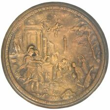 Antique Continental Bronze Relief Charger Plate Romantic Scenes Cherubs